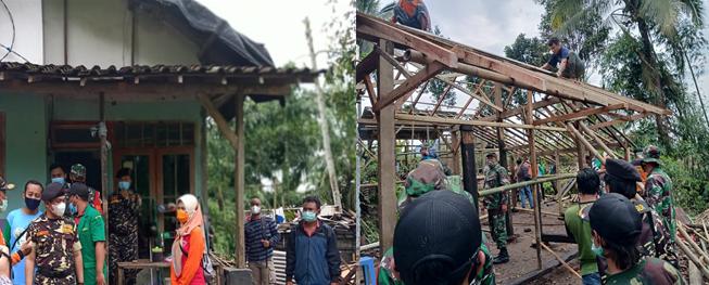 Kunjungan Bupati dan Kepala Dinas Sosial, Memantau Perbaikan Rumah Korban Bencana